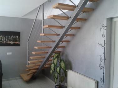 Escalier sur mesure limon central et marches en bois